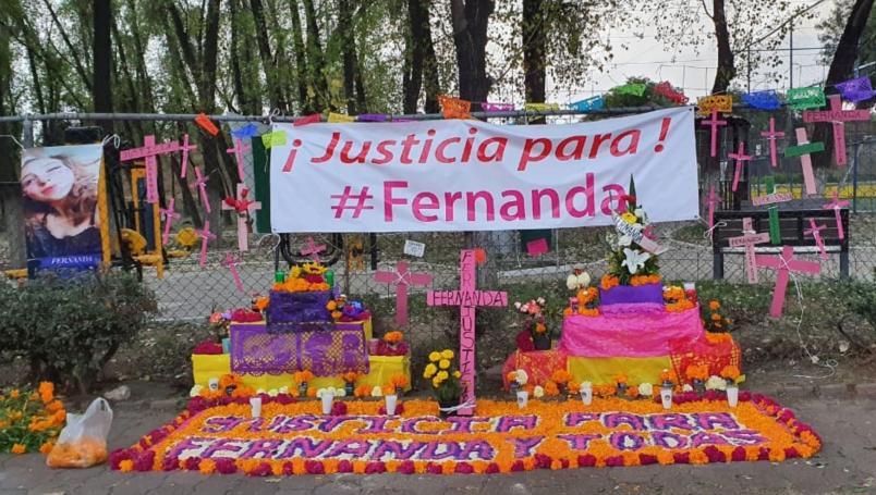 Exigen justicia para Fernanda Sabalza Sánchez con ofrenda en Tlalnepantla (Estado de México)