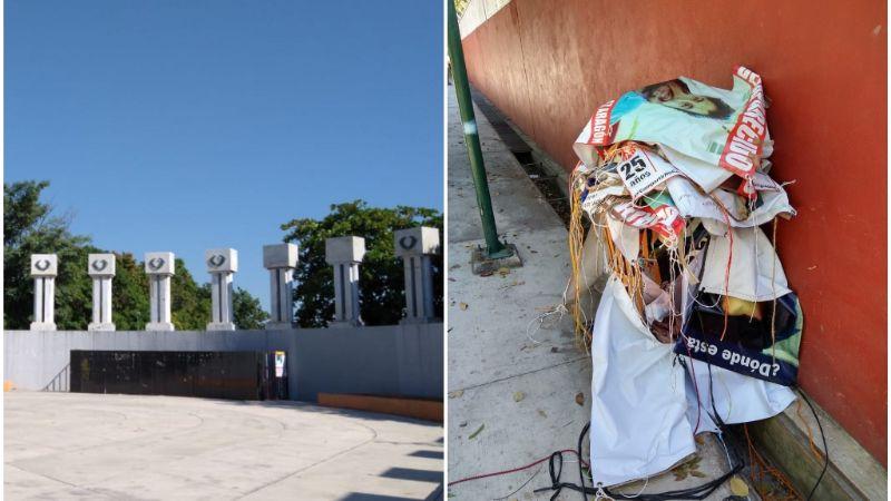 Retiran de la Rotonda de las Personas Ilustres lonas de desaparecidos en Colima