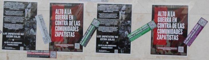 Acción en La Laguna en repudio a las agresiones paramilitares de la ORCAO en contra de comunidades zapatistas